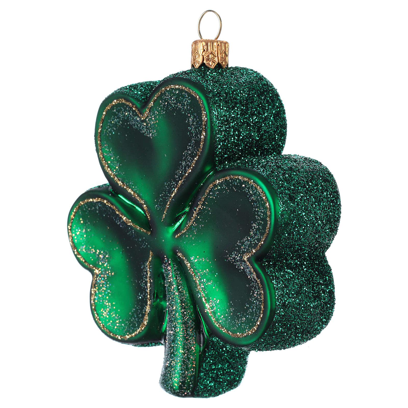 Clover blown glass Christmas tree decoration 4