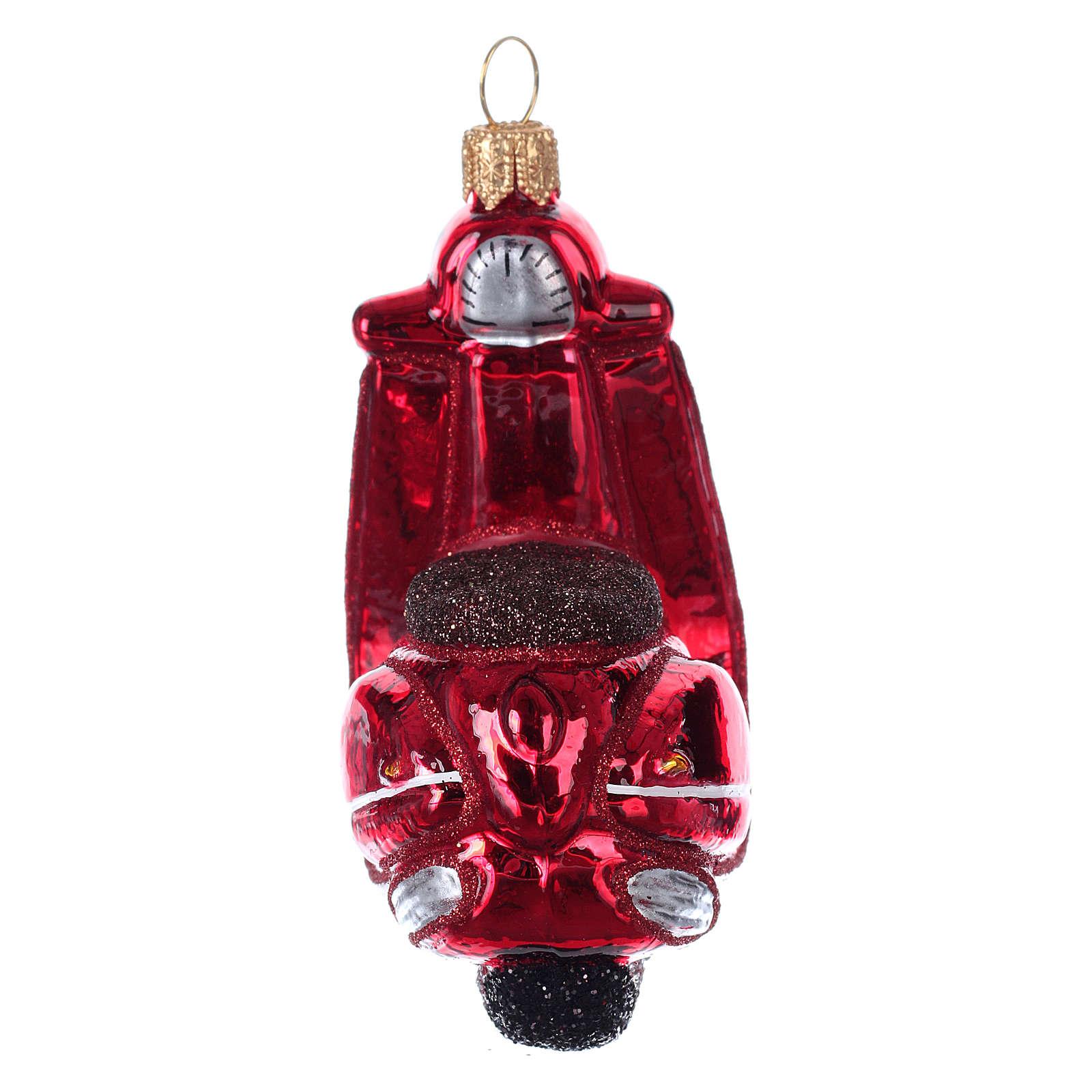 Escúter de vidrio soplado decoración árbol Navidad 4