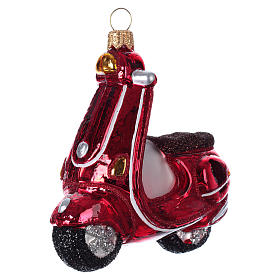 Blown glass Christmas ornament, red scooter s2