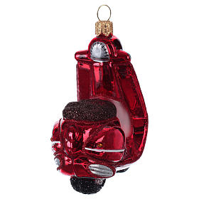Blown glass Christmas ornament, red scooter s4