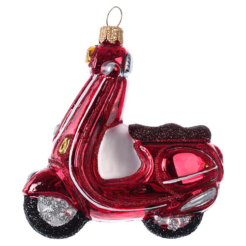 Blown glass Christmas ornament, red scooter 1