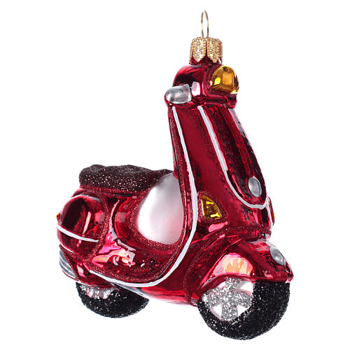 Blown glass Christmas ornament, red scooter 3