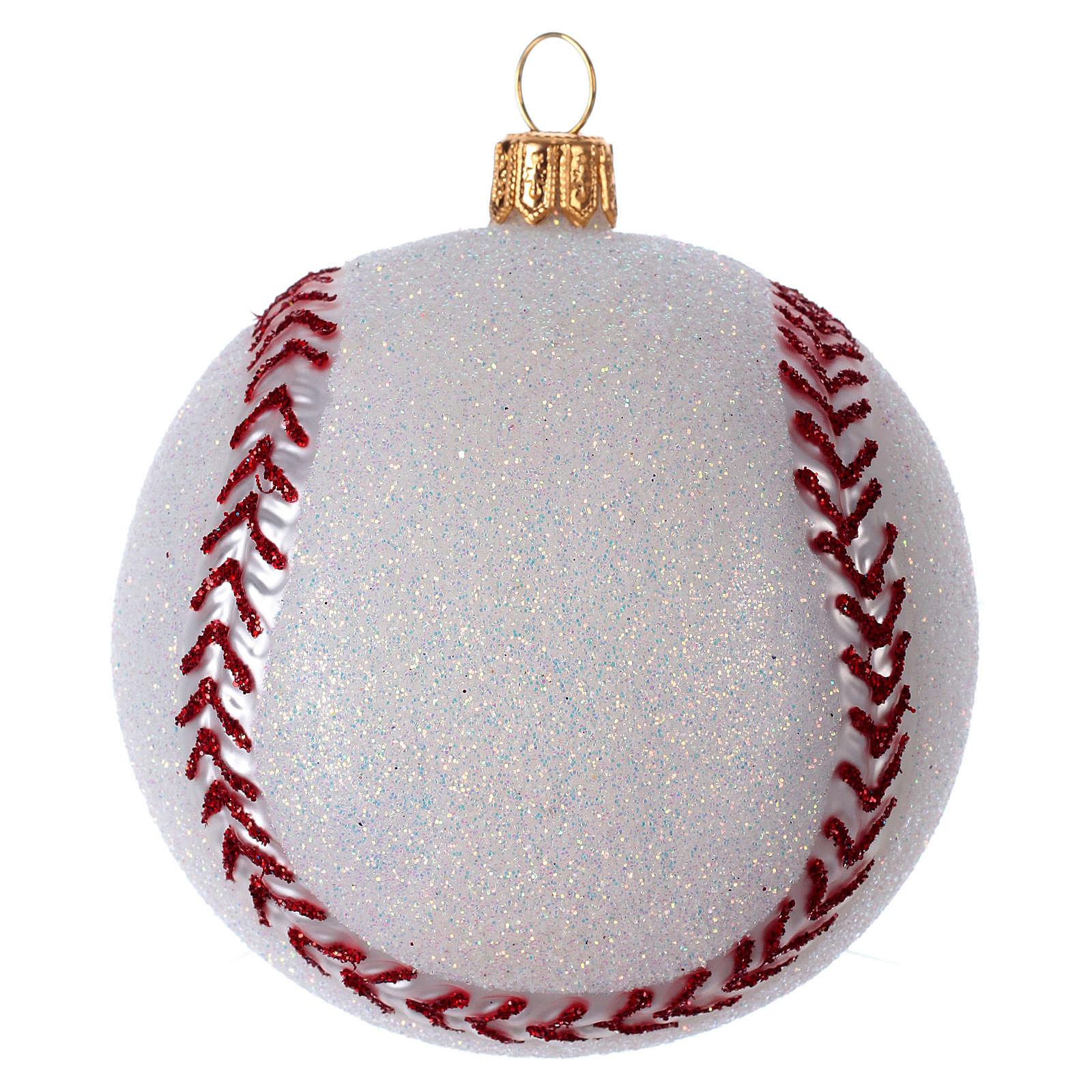 Palla da Baseball decorazione per albero di Natale in vetro soffiato 4