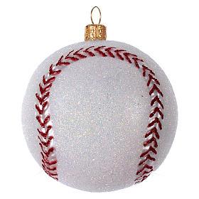 Palla da Baseball decorazione per albero di Natale in vetro soffiato s1