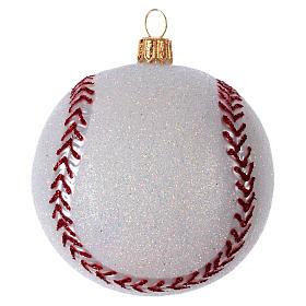 Palla da Baseball decorazione per albero di Natale in vetro soffiato s2