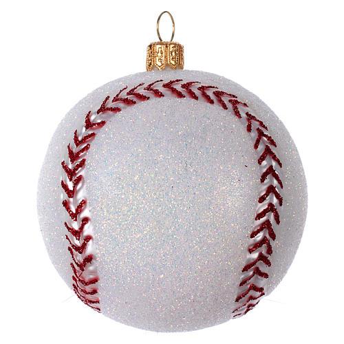Palla da Baseball decorazione per albero di Natale in vetro soffiato 1