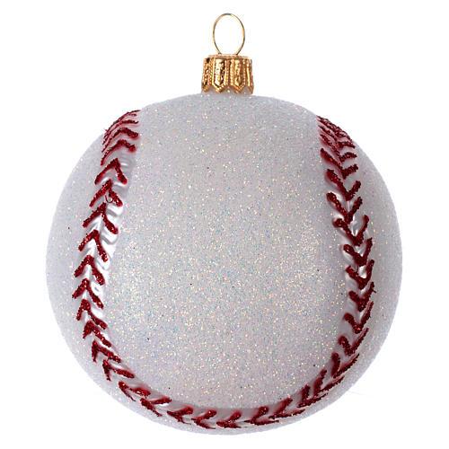 Palla da Baseball decorazione per albero di Natale in vetro soffiato 2