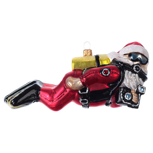 Scuba-diving Santa Claus in blown glass for Christmas Tree 1