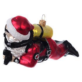 Père Noël plongeur décoration verre soufflé Sapin Noël s2