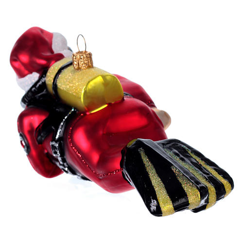 Diving Santa Claus, blown glass Christmas ornament 3