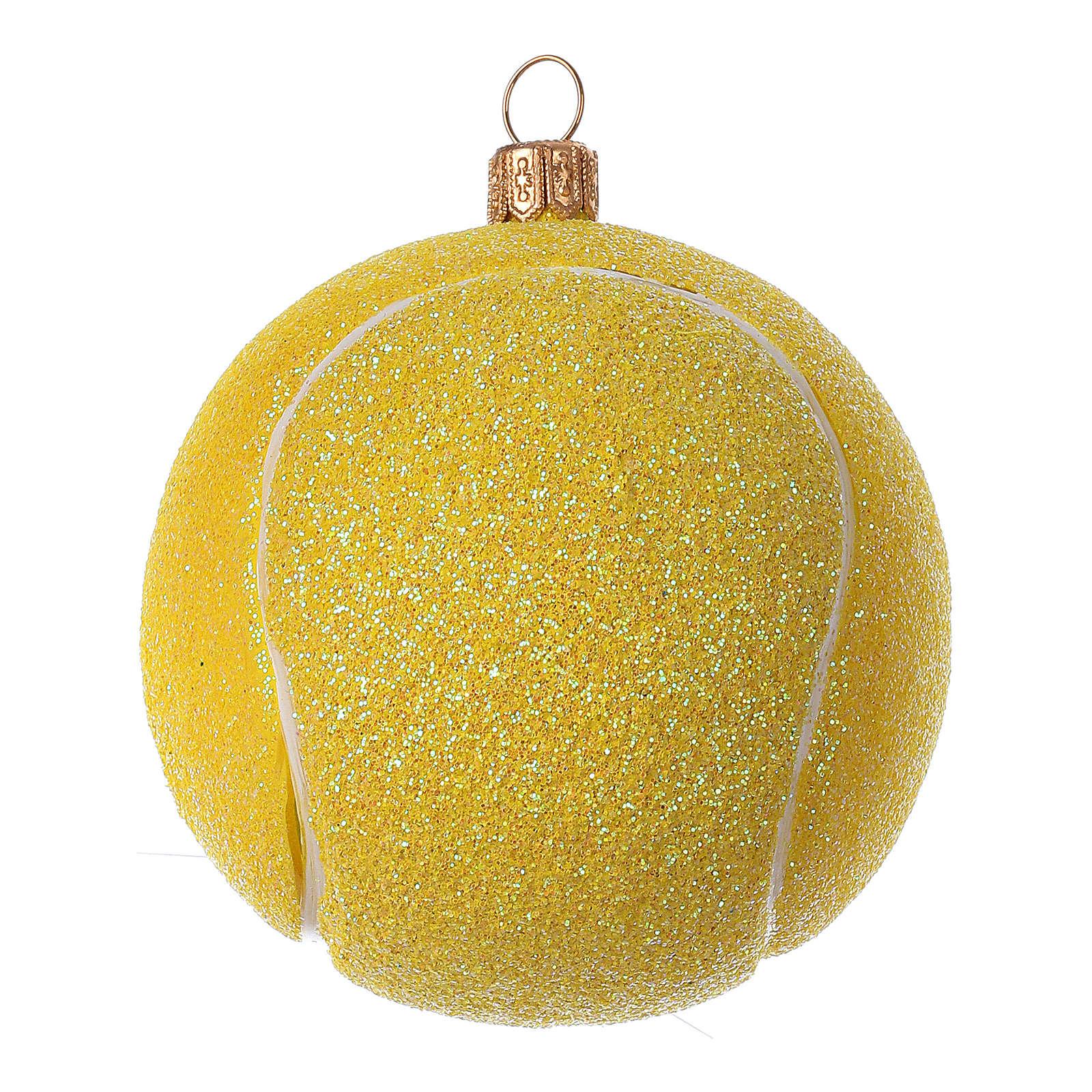 Pelota de ténis decoración vidrio soplado árbol Navidad 4
