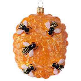 Blown glass ornaments: Beehive structure in blown glass for Christmas Tree