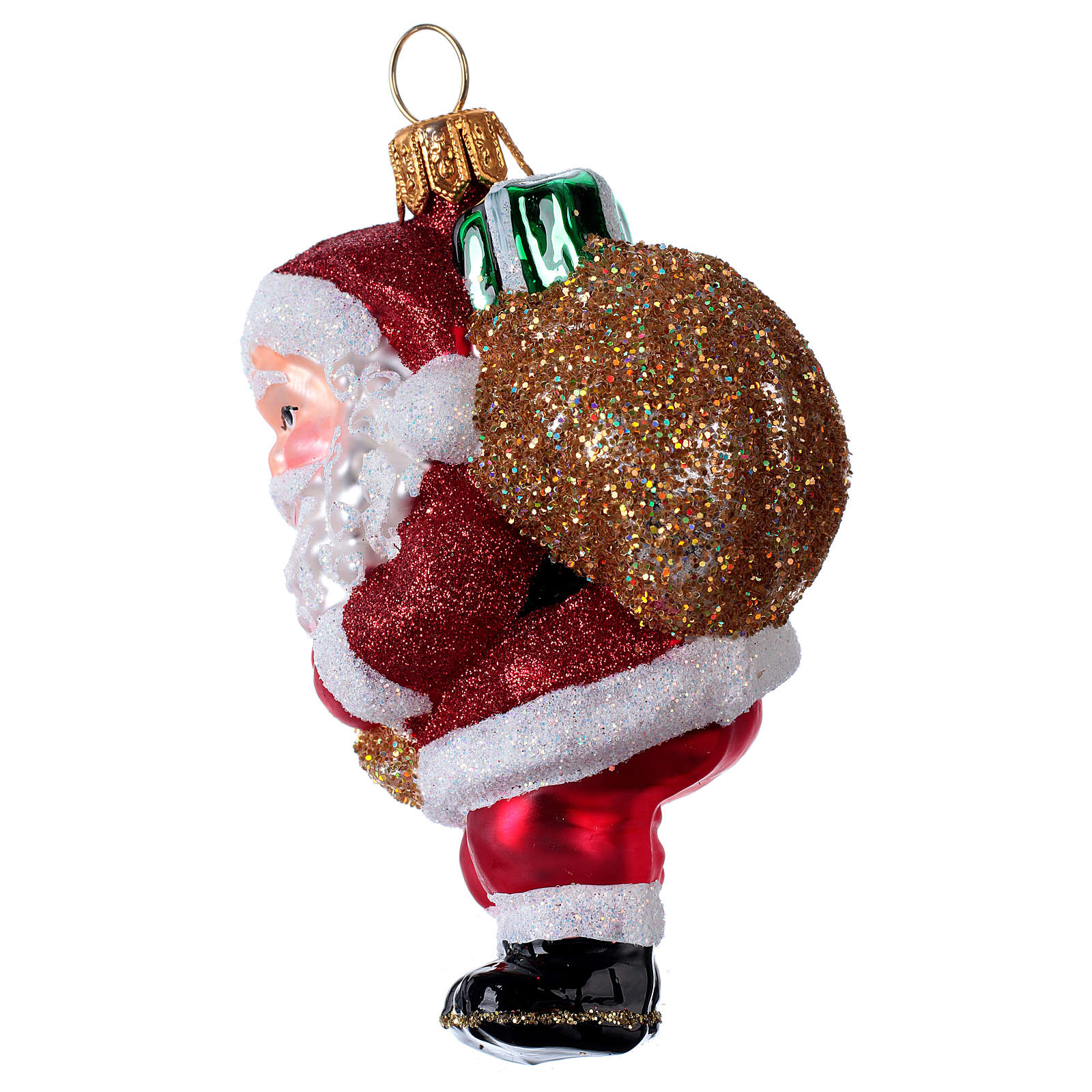Blown glass Christmas ornament, Santa Claus with gift bag 4