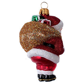 Blown glass Christmas ornament, Santa Claus with gift bag s3