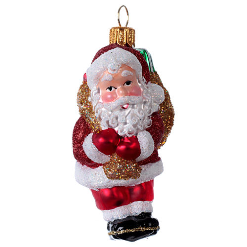 Blown glass Christmas ornament, Santa Claus with gift bag 1