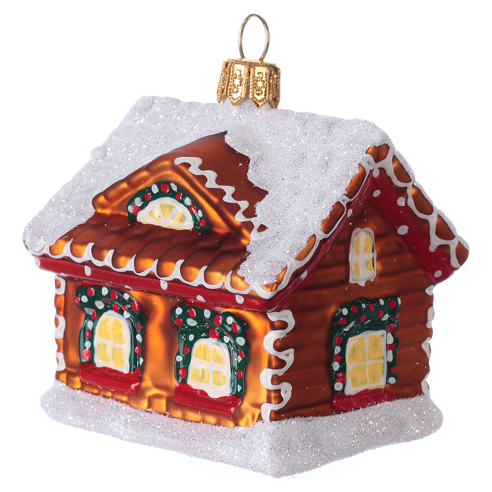 Refugio de pan de jengibre decoración vidrio soplado Árbol Navidad 4