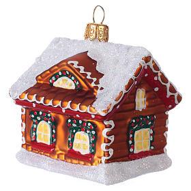 Refugio de pan de jengibre decoración vidrio soplado Árbol Navidad s3