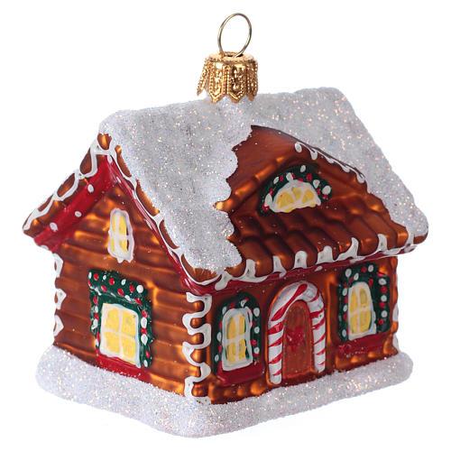 Refugio de pan de jengibre decoración vidrio soplado Árbol Navidad 2