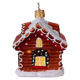 Chalé pão de mel enfeite vidro soprado para Natal s4