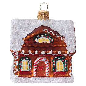 Blown glass Christmas ornament, gingerbread house with snow s1