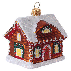 Blown glass Christmas ornament, gingerbread house with snow s2