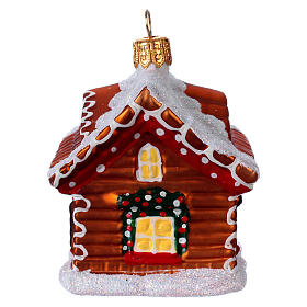 Blown glass Christmas ornament, gingerbread house with snow s4