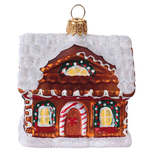 Blown glass Christmas ornament, gingerbread house with snow 1