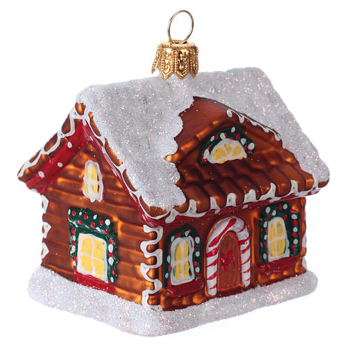 Blown glass Christmas ornament, gingerbread house with snow 2