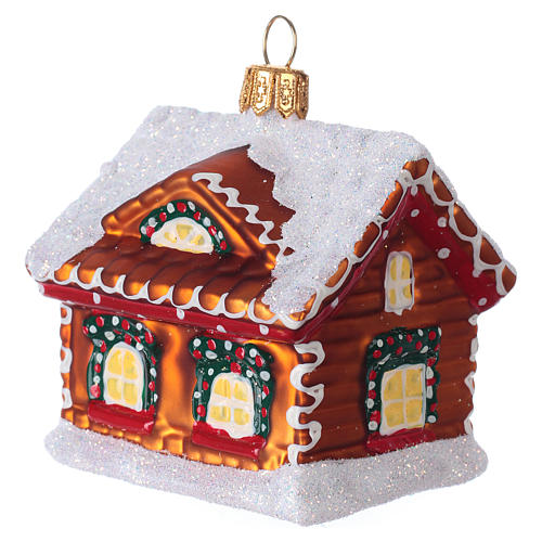 Blown glass Christmas ornament, gingerbread house with snow 3