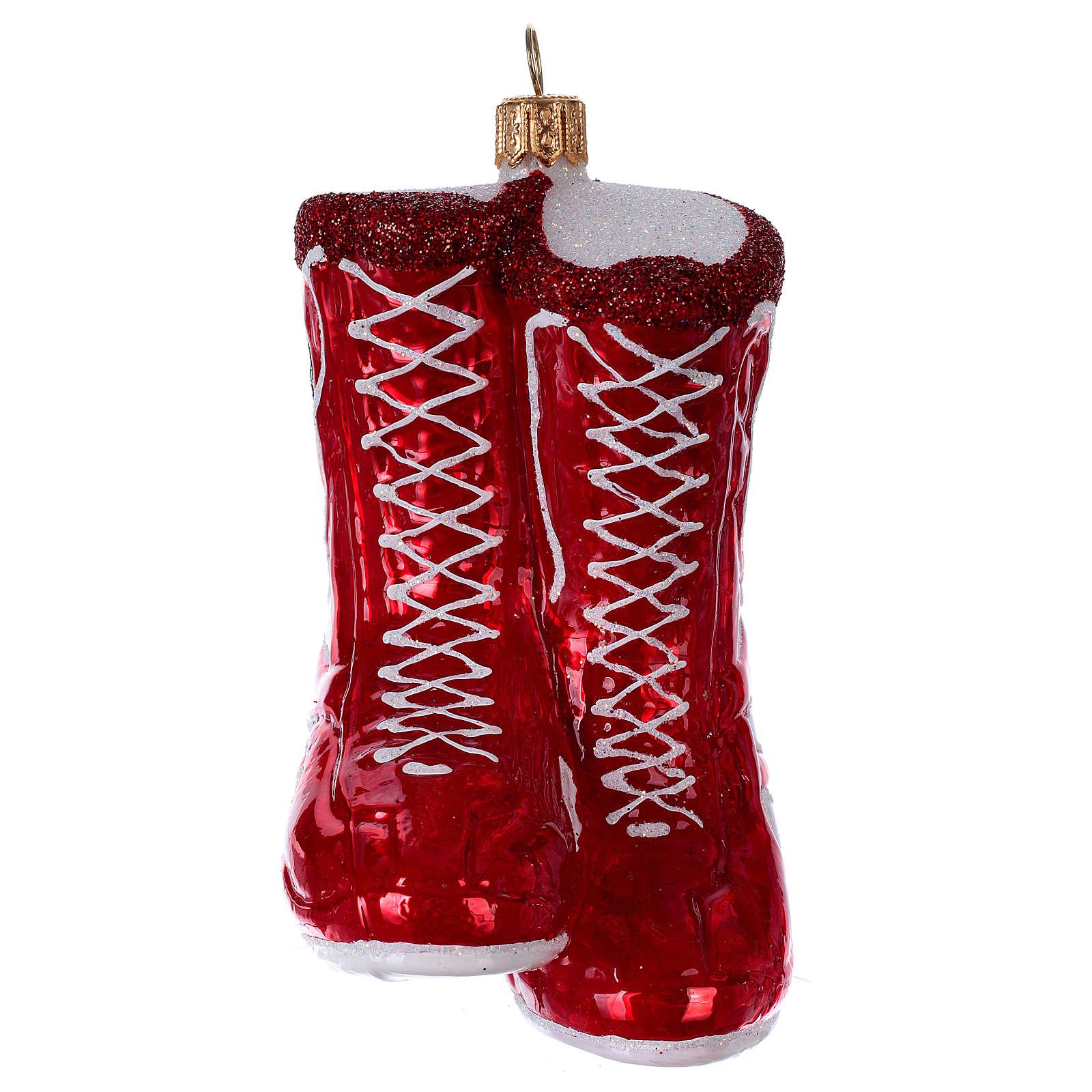 Chaussures de boxe décoration en verre soufflé sapin de Noël 4