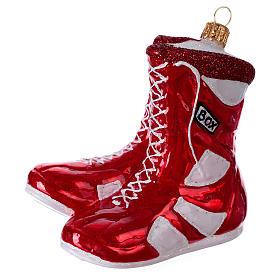 Chaussures de boxe décoration en verre soufflé sapin de Noël s2