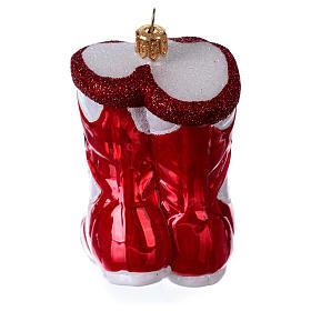 Chaussures de boxe décoration en verre soufflé sapin de Noël s4