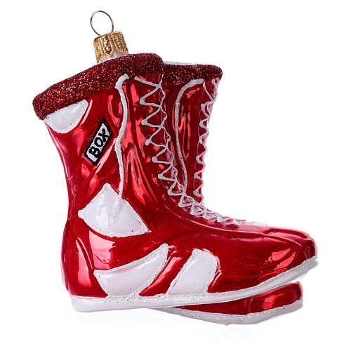 Chaussures de boxe décoration en verre soufflé sapin de Noël 3