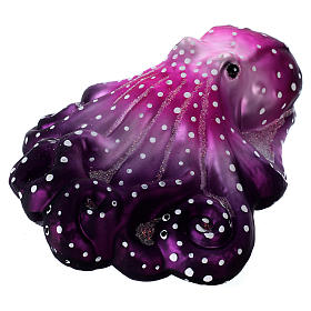 Purple octopus in blown glass for Christmas Tree s2
