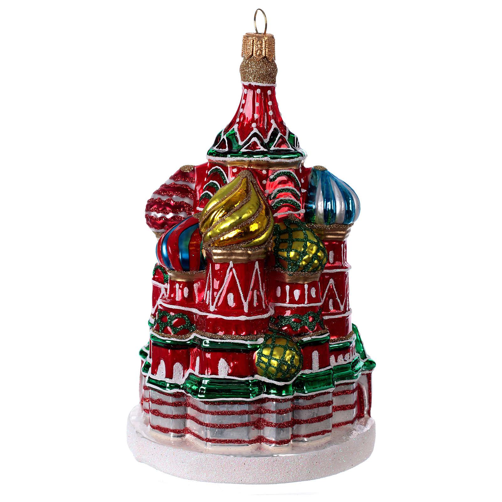 Cathédrale Saint Basile Moscou décoration en verre soufflé sapin de Noël 4