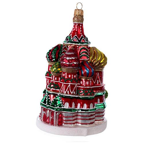 Cathédrale Saint Basile Moscou décoration en verre soufflé sapin de Noël 3