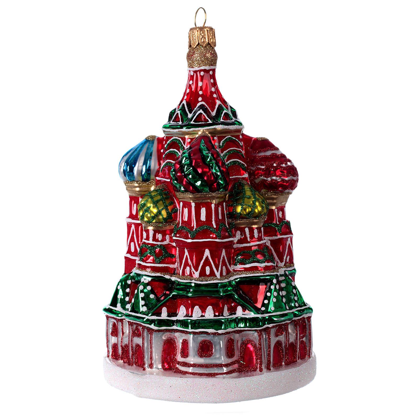 Catedral de São Basílio de Moscou enfeite vidro soprado para Natal 4