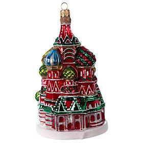 Catedral de São Basílio de Moscou enfeite vidro soprado para Natal s1