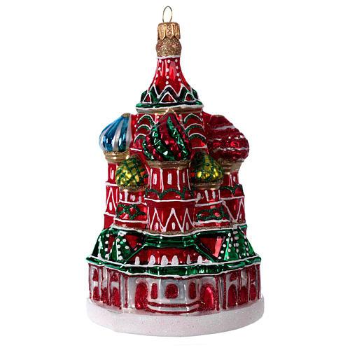 Catedral de São Basílio de Moscou enfeite vidro soprado para Natal 2