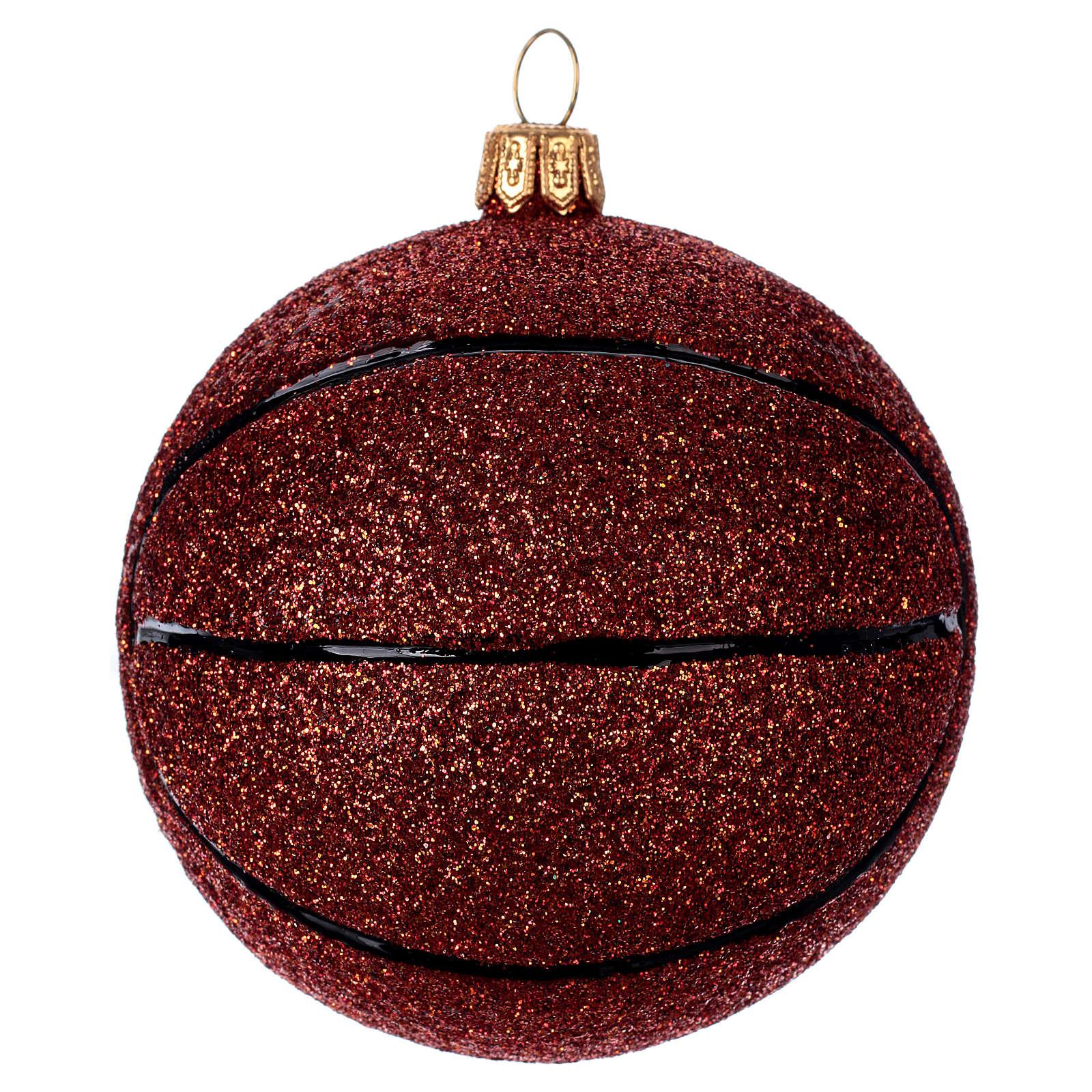 Blown glass Christmas ornament, basketball 4