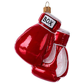 Blown glass Christmas ornament, boxing gloves s1