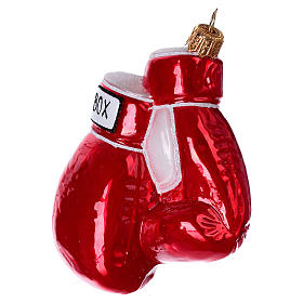 Blown glass Christmas ornament, boxing gloves s2