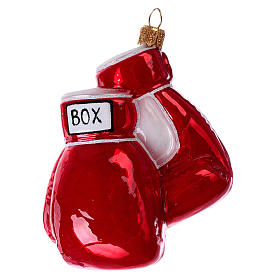 Blown glass Christmas ornament, boxing gloves s3