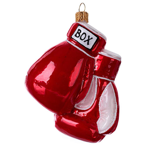 Blown glass Christmas ornament, boxing gloves 1