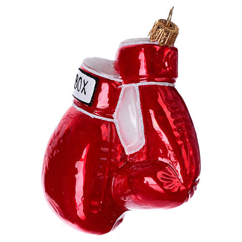Blown glass Christmas ornament, boxing gloves 2