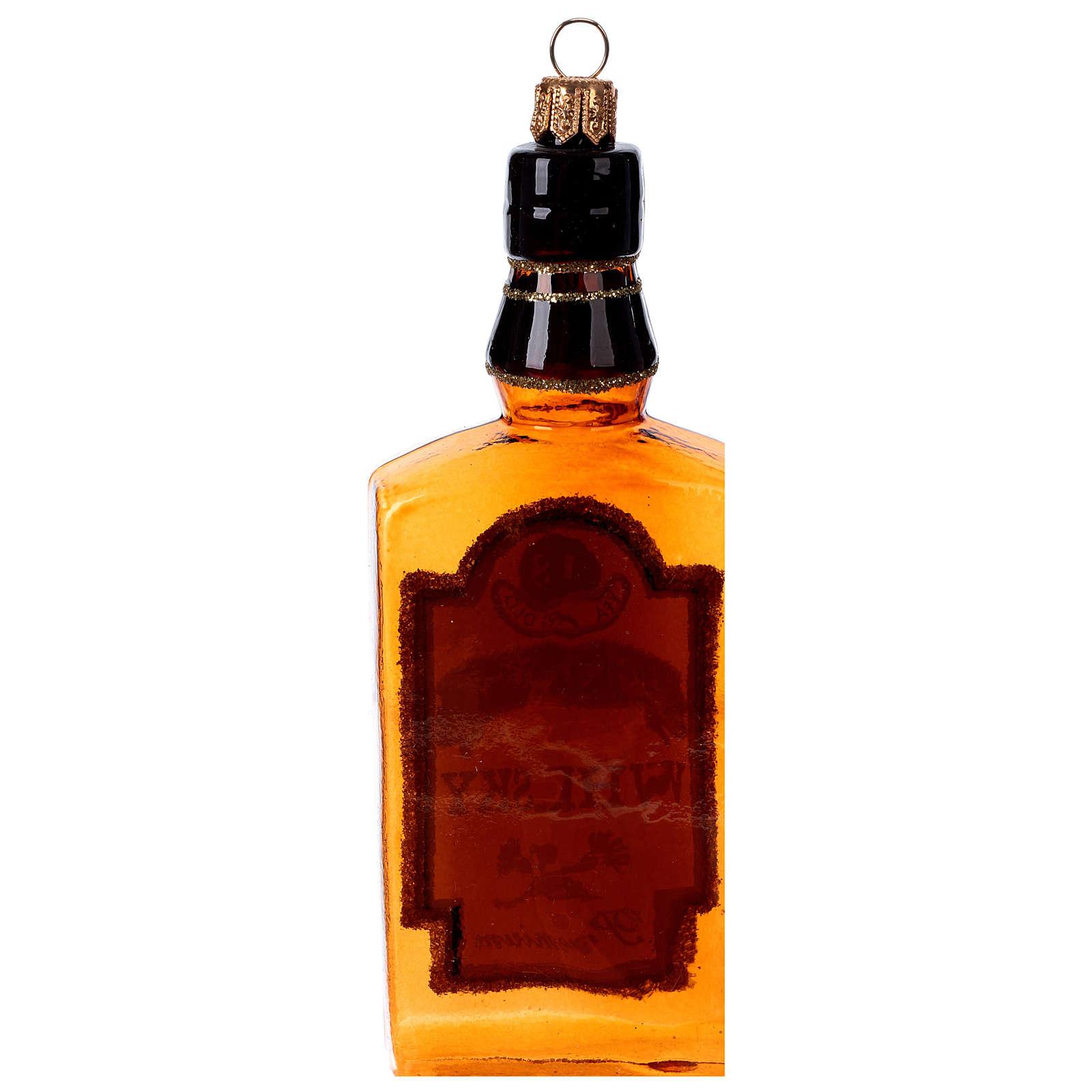 Blown glass Christmas ornament, whisky bottle 4