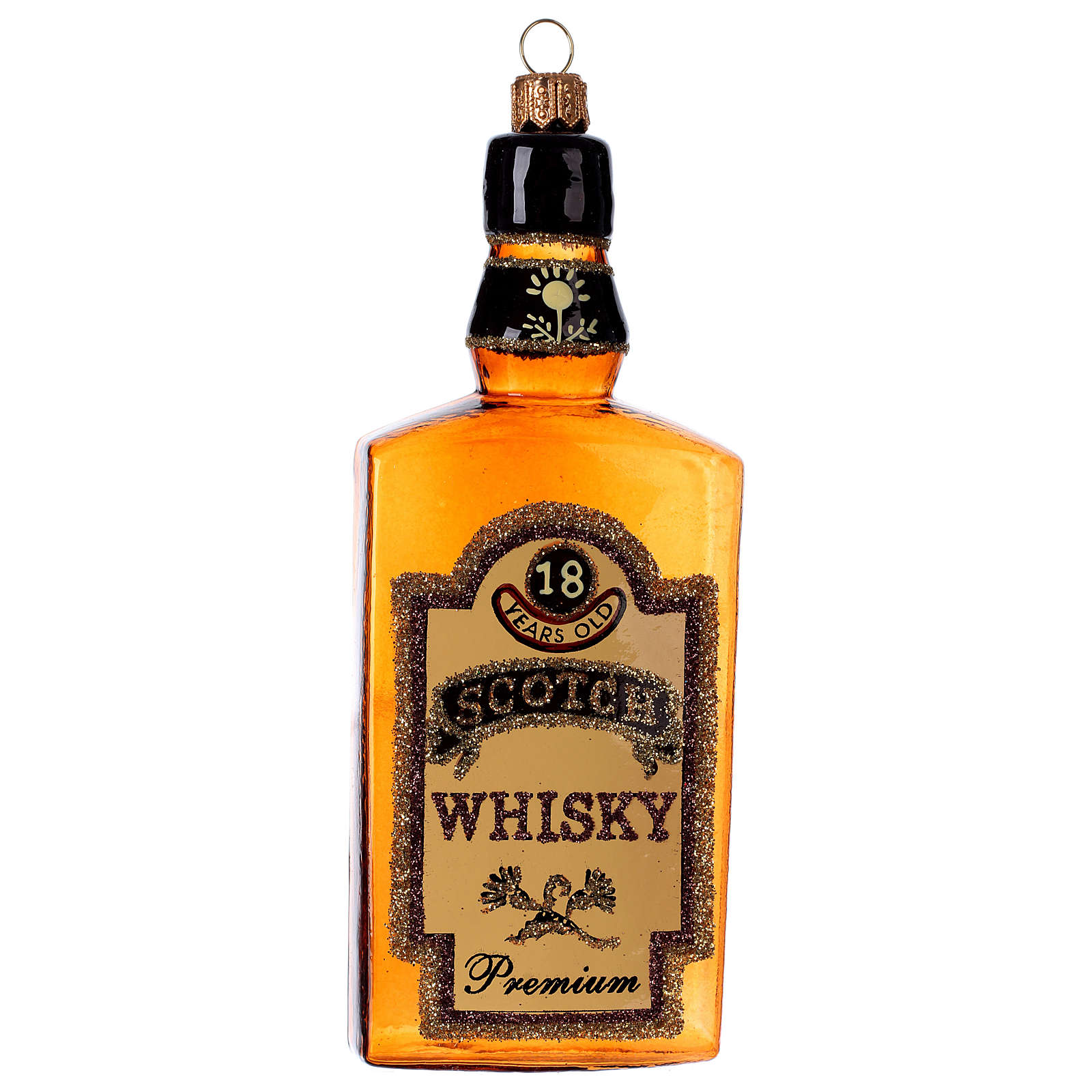 Botella de Whisky de vidrio soplado para Árbol de Navidad 4