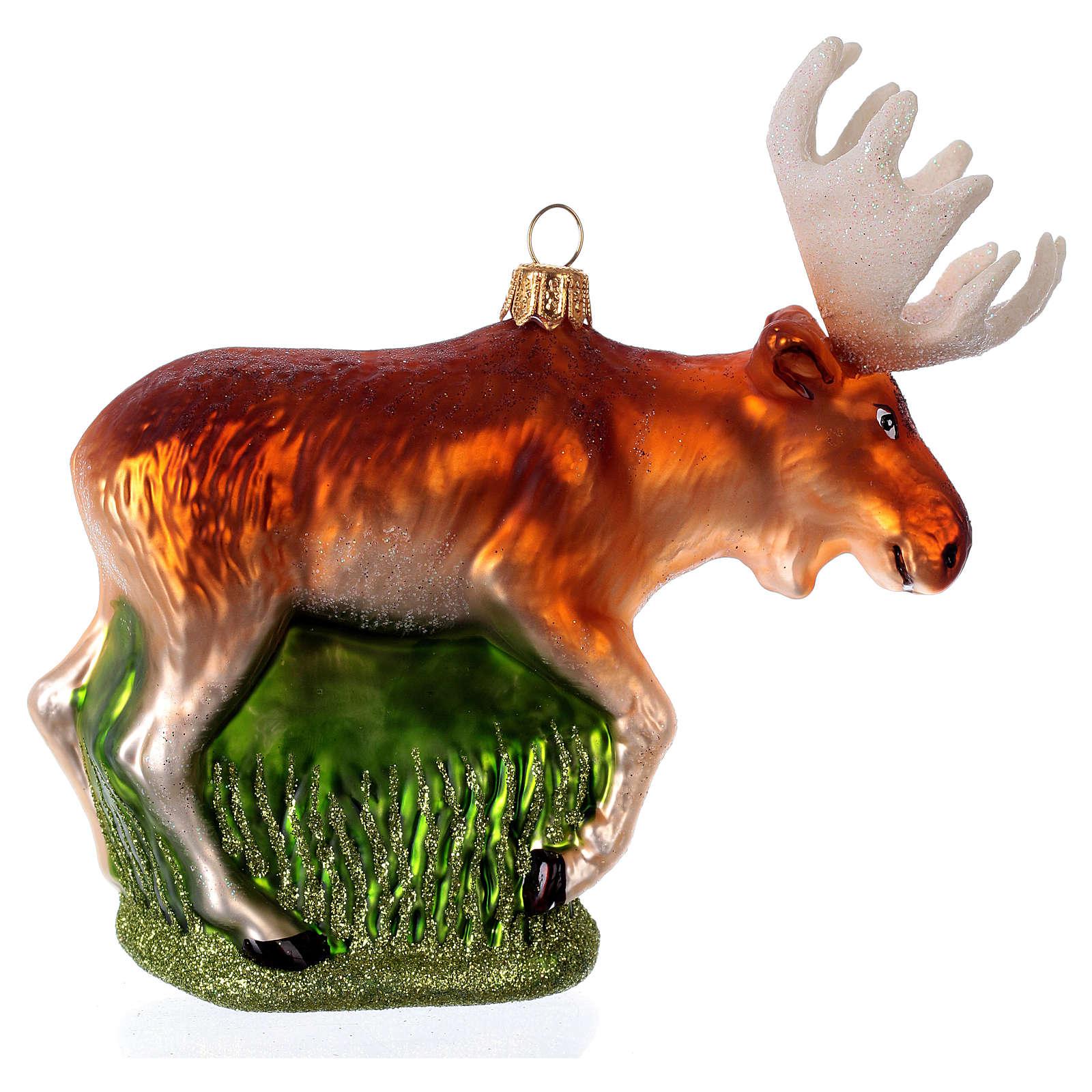 Alce americano decoración de vidrio soplado Árbol Navidad 4