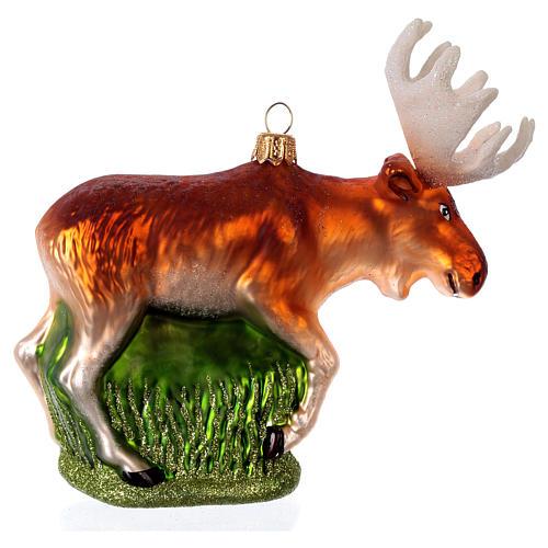 Alce americano decoración de vidrio soplado Árbol Navidad 1