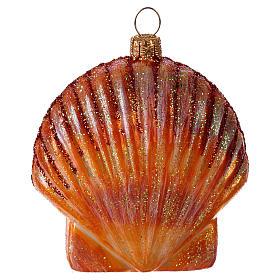 Orange Muschel mundgeblasenen Glas für Tannenbaum s3